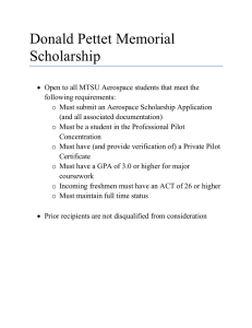 Donald Pettet Memorial Scholarship