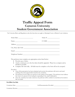 Traffic Appeal Form Cameron University Student Government Association