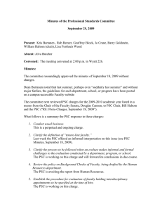 Minutes of the Professional Standards Committee September 25, 2009 Present: Absent: