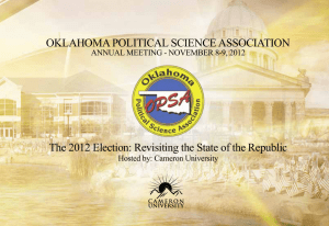 OKLAHOMA POLITICAL SCIENCE ASSOCIATION ANNUAL MEETING - NOVEMBER 8-9, 2012
