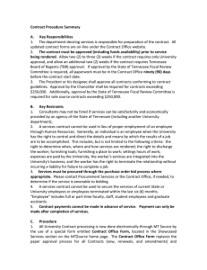 Contract Procedure Summary A.      Key Responsibilities