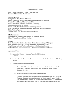 Council of Deans – Minutes  Date: Tuesday, September 7, 2010