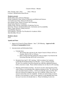Council of Deans – Minutes  Date: Tuesday, July 5, 2011