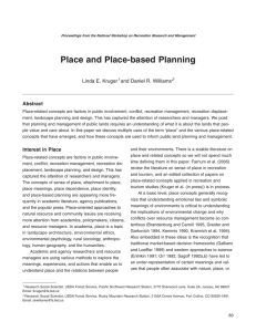 Place and Place-based Planning Abstract Linda E. Kruger and Daniel R. Williams