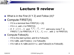 Lecture 9 review  Compute FIRST(X)