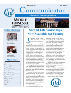 C ommunicator Second Life Workshops Now Available for Faculty