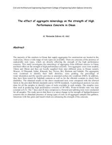 The effect of aggregate mineralogy on the strength of High Abstract