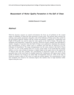Measurement of Water Quality Parameters in the Gulf of Oman Abstract