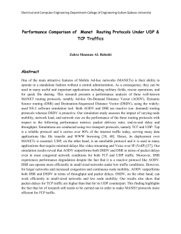 Performance Comparison of  Manet  Routing Protocols Under UDP... TCP Traffics  Abstract