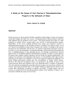 A Study on the Causes of Cost Overrun in Telecommunications