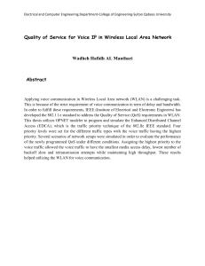 Quality of Service for Voice IP in Wireless Local Area... Wadheh Hafidh AL Manthari Abstract