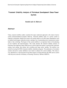 Transient Stability Analysis of Petroleum Development Oman Power System