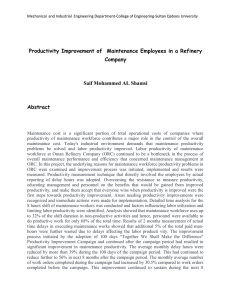 Productivity Improvement of  Maintenance Employees in a Refinery Company