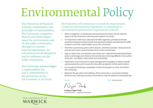 Environmental Policy The University of Warwick