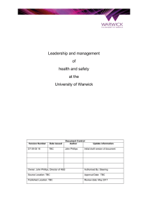 Leadership and management of health and safety at the