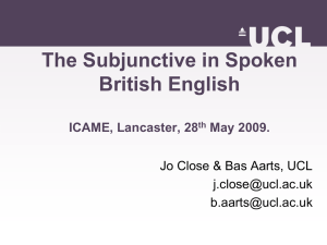 The Subjunctive in Spoken British English ICAME, Lancaster, 28 May 2009.