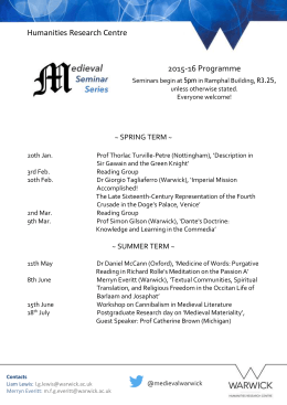 Humanities Research Centre 2015-16 Programme  ~ SPRING TERM ~