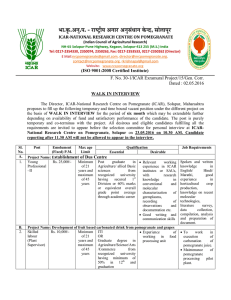 F. No. 30-1/ICAR Exramural Project/15/Gen. Corr. Dated : 02.05.2016 WALK IN INTERVIEW