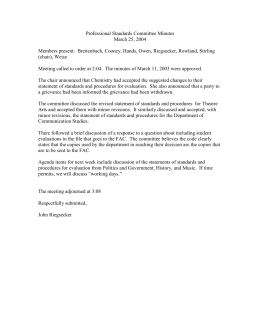 Professional Standards Committee Minutes March 25, 2004