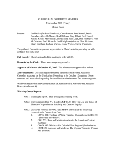 CURRICULUM COMMITTEE MINUTES 2 November 2007 (Friday) Misner Room