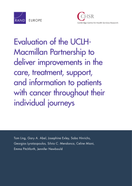Evaluation of the UCLH- Macmillan Partnership to deliver improvements in the