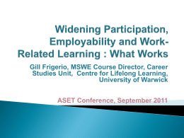 Gill Frigerio, MSWE Course Director, Career University of Warwick
