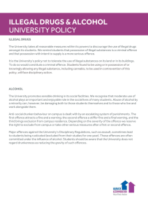 ILLEGAL DRUGS & ALCOHOL UNIVERSITY POLICY
