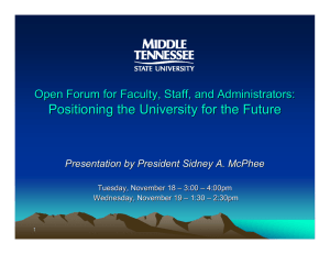 Positioning the University for the Future Tuesday, November 18