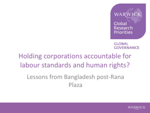Holding corporations accountable for labour standards and human rights? Plaza