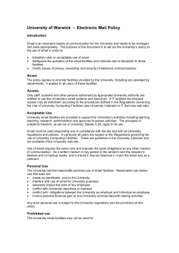 University of Warwick  -  Electronic Mail Policy Introduction
