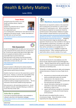 Health & Safety Matters  June 2015 Team News