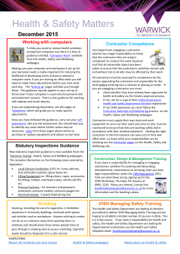 Health & Safety Matters December 2015 Working with computers