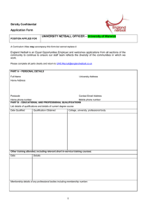 Strictly Confidential Application Form – University of Warwick