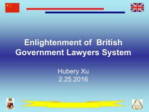 Enlightenment of  British Government Lawyers System Hubery Xu 2.25.2016