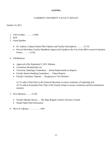 AGENDA CAMERON UNIVERSITY FACULTY SENATE October 14, 2011