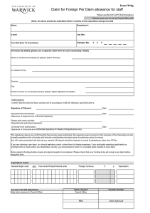 Claim for Foreign Per Diem allowance for staff Form FP16g