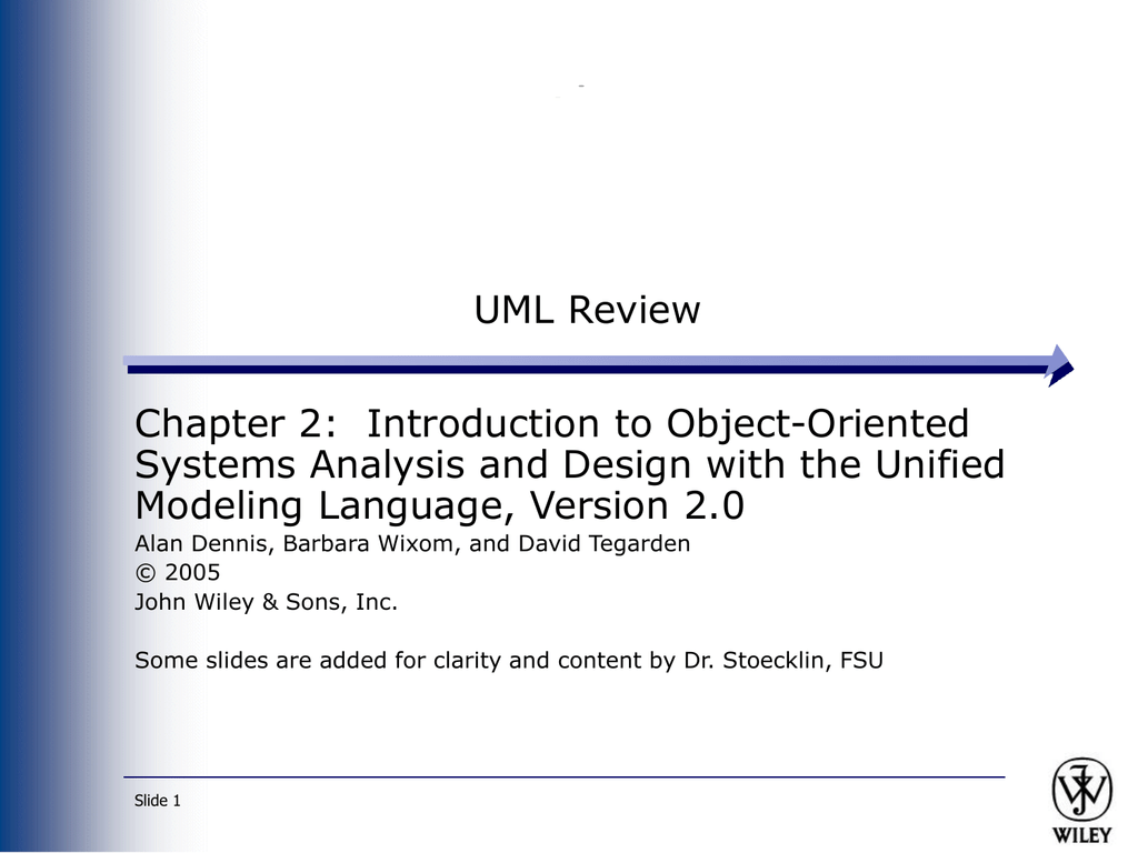 Uml Review Chapter 2 Introduction To Object Oriented Modeling Language Version 2 0