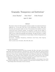 Geography, Transparency and Institutions ∗ Joram Mayshar Omer Moav