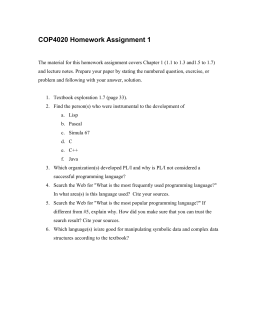 COP4020 Homework Assignment 1