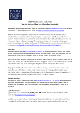 ESRC DTC Collaborative Studentship: