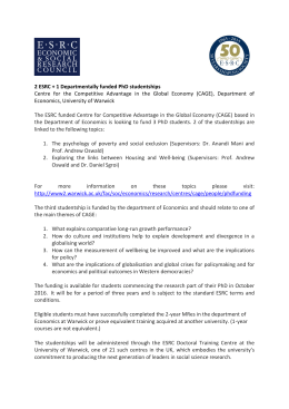 2 ESRC + 1 Departmentally funded PhD studentships