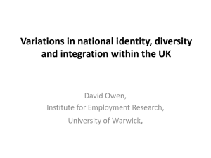 Variations in national identity, diversity and integration within the UK , David Owen,