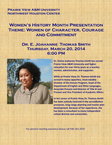 Women's History Month Presentation Theme: Women of Character, Courage and Commitment