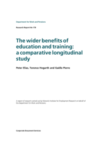 The wider benefits of education and training: a comparative longitudinal study