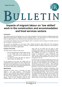 'low skilled' Impacts of migrant labour on and food services sectors