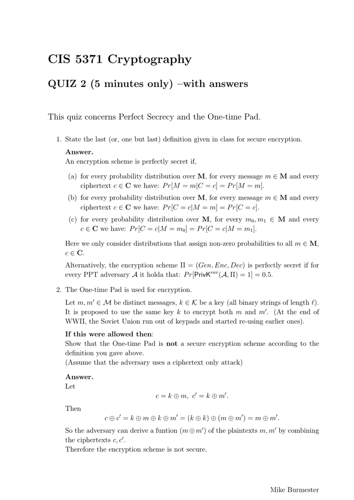 CIS 5371 Cryptography QUIZ 2 (5 minutes only) –with answers