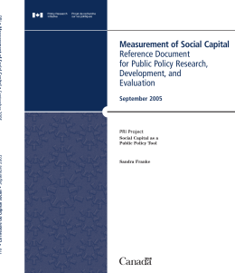 Measurement of Social Capital Reference Document for Public Policy Research, Development, and