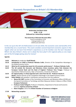 Brexit? Economic Perspectives on Britain's EU Membership