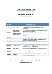 CAGE Research Day Wednesday, December 9th Scarman Conference Centre