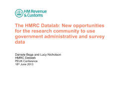 The HMRC Datalab: New opportunities for the research community to use